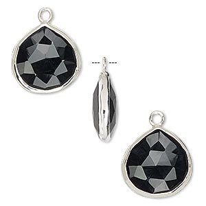 drop, black onyx (dyed) and sterling silver, 15mm double-sided faceted teardrop. sold per pkg of 2.