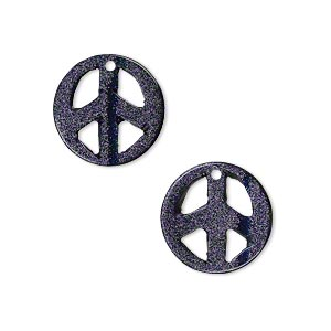 drop, blue goldstone (man-made), 15mm peace sign. sold per pkg of 2.