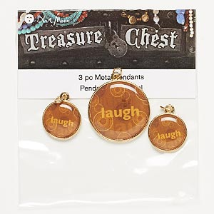 drop, blue moon beads, gold-finished pewter (zinc-based alloy), assorted round with laugh. pkg/3.