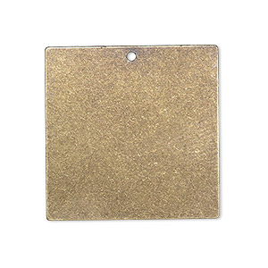 drop, brass, 28x28mm double-sided flat square blank. sold per pkg of 4.