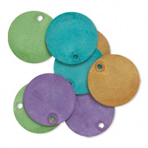 drop, brass, assorted bright patina, assorted pantone colors, 15mm double-sided flat round. sold per pkg of 8.