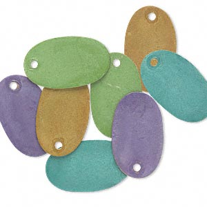 drop, brass, assorted bright patina, assorted pantone colors, 19x11mm double-sided oval. sold per pkg of 8.