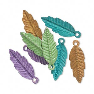 drop, brass, assorted bright patina, assorted pantone colors, 20x7mm double-sided feather. sold per pkg of 8.