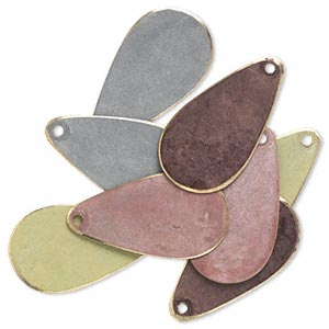 drop, brass, assorted earth tone patina, assorted pantone colors, 24x12mm double-sided teardrop. sold per pkg of 8.