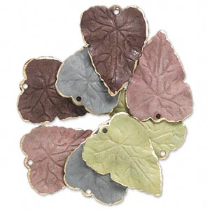 drop, brass, assorted earth tone patina, assorted pantone colors, 26x20mm double-sided leaf. sold per pkg of 8.
