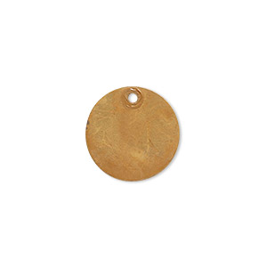 drop, brass, bright gold patina, pantone color 18-0935, 15mm double-sided flat round. sold per pkg of 6.
