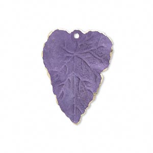 drop, brass, bright purple patina, pantone color 18-3520, 26x20mm double-sided leaf. sold per pkg of 6.