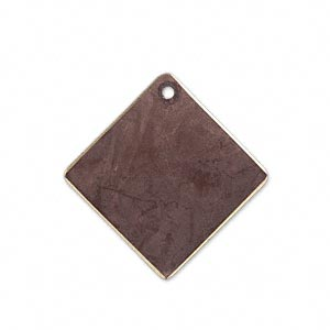 drop, brass, earth tone brown patina, pantone color 19-1321, 27x27mm double-sided diamond. sold per pkg of 6.