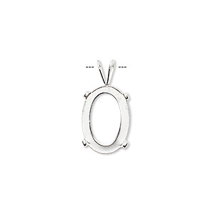drop, cab-tite™, sterling silver, 14x10mm 4-prong oval setting. sold individually.