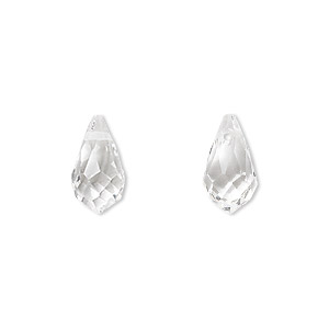 drop, celestial crystal, clear, 13x7mm faceted teardrop. sold per pkg of 6.
