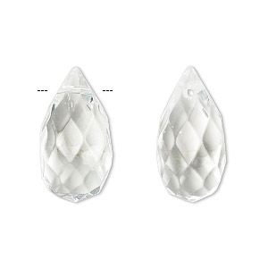 drop, celestial crystal, clear, 22x11mm faceted teardrop. sold per pkg of 2.