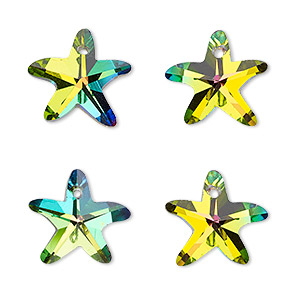 drop, celestial crystal, clear vitrail, foil back, 15x14mm hand-cut faceted starfish. sold per pkg of 4.