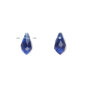 drop, celestial crystal, cobalt, 11x6mm faceted teardrop. sold per pkg of 6.