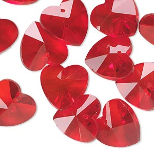 drop, celestial crystal, red, 14mm hand-cut faceted heart. sold per pkg of 16.