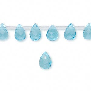 drop, celestial crystal, sea blue, 9x6mm faceted teardrop. sold per pkg of 50.