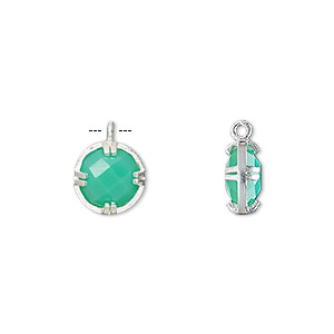drop, chalcedony (dyed) and sterling silver, sea green, 10mm double-sided faceted round. sold individually.