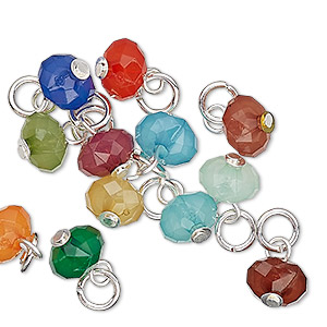 drop, charmed, acrylic and silver-finished steel, multicolored, 8x5mm faceted rondelle. sold per pkg of 12.