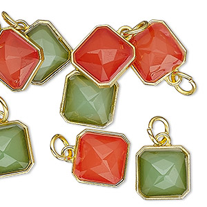 drop, charmed, resin with gold-finished steel and pewter (zinc based alloy), red and green, 12mm faceted square. sold per pkg of 8.