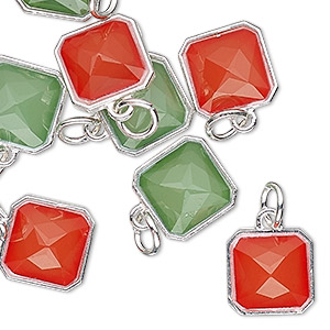 drop, charmed, resin with silver-finished steel and pewter (zinc based alloy), red and green, 12mm faceted square. sold per pkg of 8.