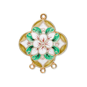 drop, cloisonne, enamel and vermeil, multicolored, 24.5x24mm flower with 3 loops. sold individually.