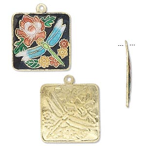 drop, cloisonne, gold-finished brass, multicolored, 20x20mm square with flowers and dragonfly, one-sided. sold per pkg of 4.