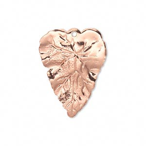 drop, copper-plated brass, 26x20mm double-sided leaf. sold per pkg of 6.