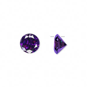 drop, cubic zirconia, amethyst purple, 10mm hand-faceted round, mohs hardness 8-1/2. sold per pkg of 4.