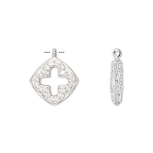 drop, cubic zirconia and sterling silver, clear, 14mm double-sided diamond with cutout cross. sold individually.