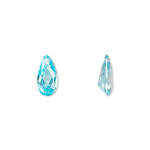 drop, cubic zirconia, aqua blue, 12x6mm hand-faceted teardrop, mohs hardness 8-1/2. sold per pkg of 2.