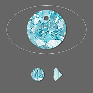 drop, cubic zirconia, aqua blue, 6mm hand-faceted round, mohs hardness 8-1/2. sold per pkg of 2.