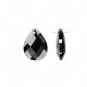 drop, cubic zirconia, black, 16x12mm hand-faceted teardrop, mohs hardness 8-1/2. sold per pkg of 2.