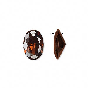 drop, cubic zirconia, brown, 15x10mm hand-faceted oval, mohs hardness 8-1/2. sold per pkg of 2.