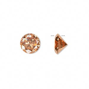 drop, cubic zirconia, champagne, 10mm hand-faceted round, mohs hardness 8-1/2. sold per pkg of 2.