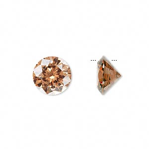 drop, cubic zirconia, champagne, 12mm hand-faceted round, mohs hardness 8-1/2. sold per pkg of 2.