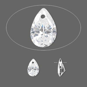drop, cubic zirconia, clear, 9x6mm hand-faceted teardrop, mohs hardness 8-1/2. sold per pkg of 6.