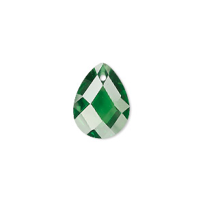 drop, cubic zirconia, emerald green, 16x12mm hand-faceted teardrop, mohs hardness 8-1/2. sold per pkg of 2.