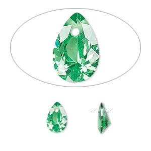 drop, cubic zirconia, emerald green, 9x6mm hand-faceted teardrop, mohs hardness 8-1/2. sold per pkg of 2.