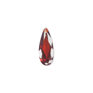 drop, cubic zirconia, garnet red, 18x7mm hand-faceted teardrop, mohs hardness 8-1/2. sold per pkg of 2.