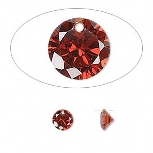 drop, cubic zirconia, garnet red, 6mm hand-faceted round, mohs hardness 8-1/2. sold per pkg of 12.