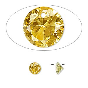 drop, cubic zirconia, gold, 6mm hand-faceted round, mohs hardness 8-1/2. sold per pkg of 12.
