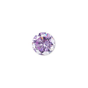 drop, cubic zirconia, lavender, 12mm hand-faceted round, mohs hardness 8-1/2. sold per pkg of 4.