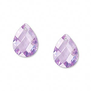 drop, cubic zirconia, lavender, 16x12mm hand-faceted teardrop, mohs hardness 8-1/2. sold per pkg of 2.