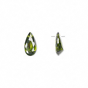 drop, cubic zirconia, olive green, 12x6mm hand-faceted teardrop, mohs hardness 8-1/2. sold per pkg of 4.