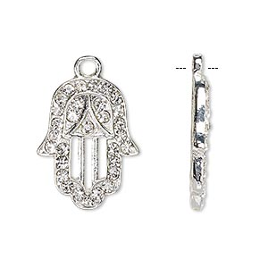 drop, czech glass rhinestone and silver-finished pewter (zinc-based alloy), clear, 22x17mm single-sided fatima hand with cutouts and 2mm faceted round. sold per pkg of 2.
