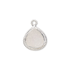 drop, druzy agate (natural) and sterling silver, 16x16mm-18x17mm hand-cut single-sided teardrop with twisted wire design. sold individually.