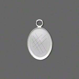 drop, fine silver, 18x13mm oval bezel cup setting with open loop. sold per pkg of 2.