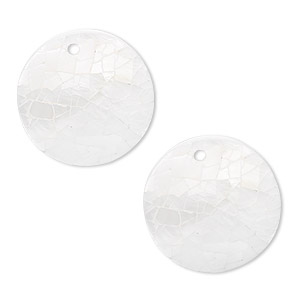 drop, freshwater pearl shell and resin (assembled), white and cream, 20mm single-sided flat round, mohs hardness 3-1/2. sold per pkg of 2.