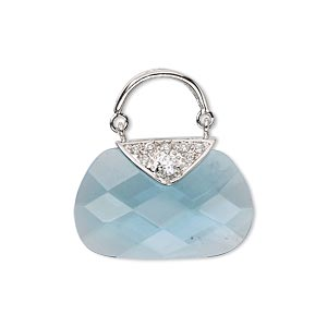 drop, glass / cubic zirconia / rhodium-finished sterling silver, aqua blue and clear, 24x12mm purse. sold individually.