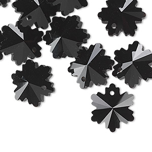 drop, glass, black, 14x13mm faceted snowflake. sold per pkg of 16.