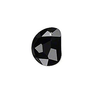 drop, glass, black, 18x14mm faceted 3/4 moon. sold per pkg of 2.